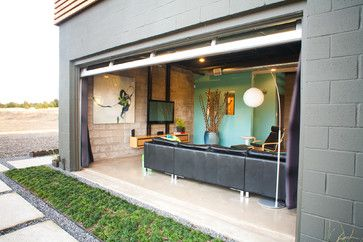 Glass Garage Door Living Room Cedar Rain Screen Galvalume Metal Siding Opening Wall Painted Intended Design Inspiration