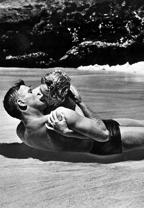 Burt Lancaster and Deborah Kerr in From Here to Eternity, one of the most iconic images in film history. Directed by Fred Zinnemann 1953.