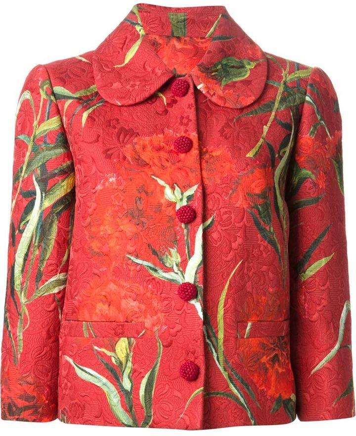Dolce & Gabbana Carnations print embossed jacket