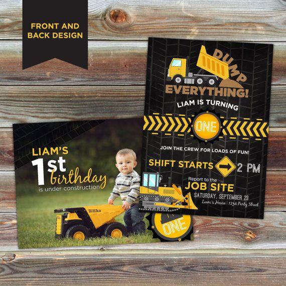 Invitación del cumpleaños del tema de construcción