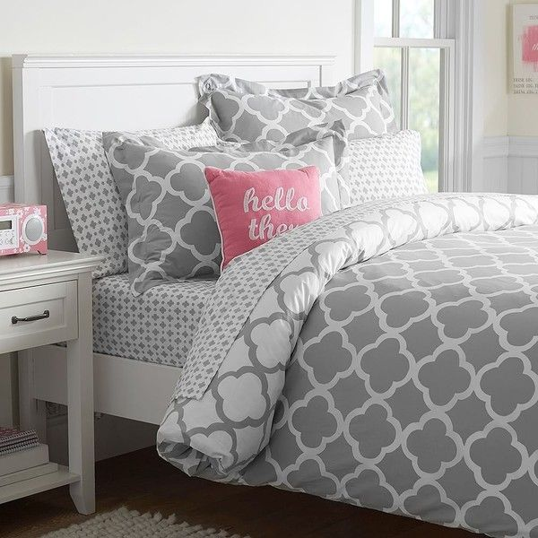 PB Teen Lucky Clover Reversible Duvet Cover, Twin, Light Grey ($64) ❤ liked on Polyvore featuring home, bed & bath, bedding, duvet covers, twin bed linens, pbteen bedding, pbteen, light grey bedding and twin extra long bedding