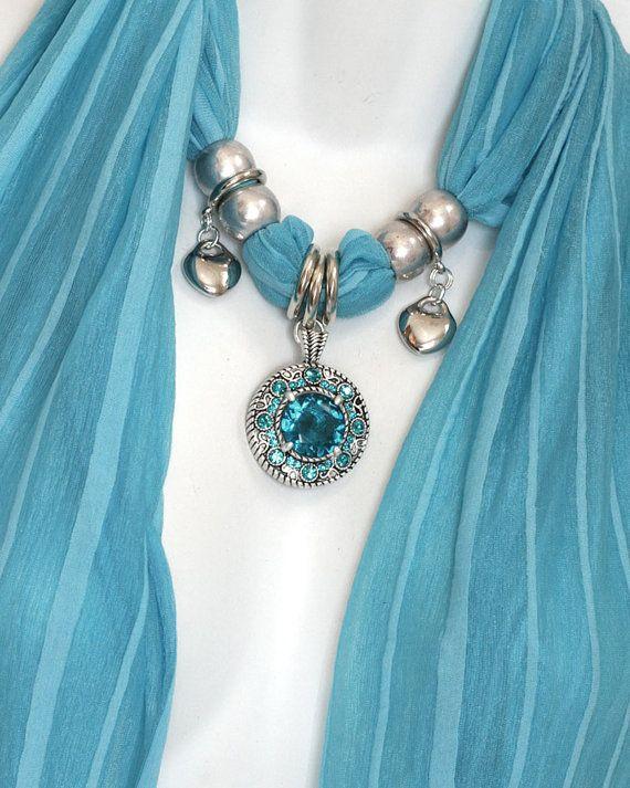 Pendant Scarf Jewelry Turquoise Blue by RavensNestScarfJewel, $27.00
