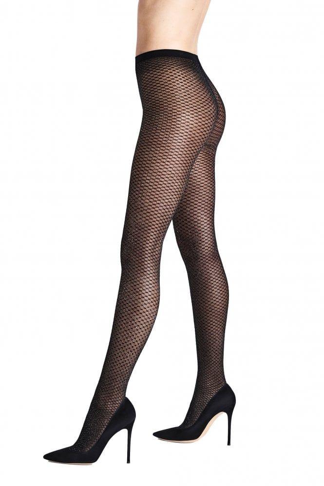 Charnos Glitter Sparkle Tights *Black//Silver* Xmas Party Celebration Size S-L