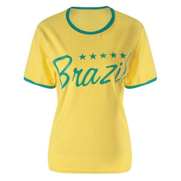Active Style Round Collar Short Sleeve Brazil Signature Women's T-Shirt #men, #hats, #watches, #belts, #fashion, #style
