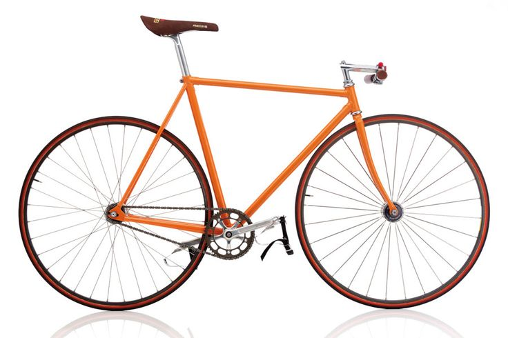 This lightweight, fixed-gear track bike hails from Italy. The design, from the late 1970s, has recently had a strong resurgence in urban centers due to the simplicity of design and beautiful lines. When used as a street bike, riders must rely upon their own strength and weight to bring the brakeless bike to a halt. [photo by Bernhard Angerer]