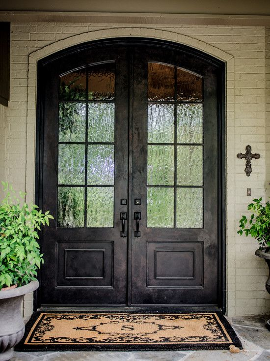 Amazing Home With Double Front Doors: Dark Traditional Double Front Doors  Framed With Creamy Brick