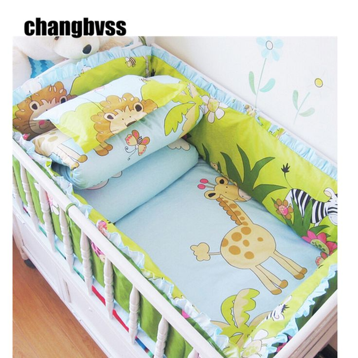 Comfortable Baby Bed Set,Animal Baby Bedding Stripes,Breathable Newborn Bedding Sets,Child Crib Bedding Set for Baby Cot Bumper #Affiliate