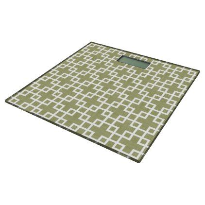White Retro Chic Squares Pattern On Olive Green Bathroom Scale - classy gifts custom diy personalize