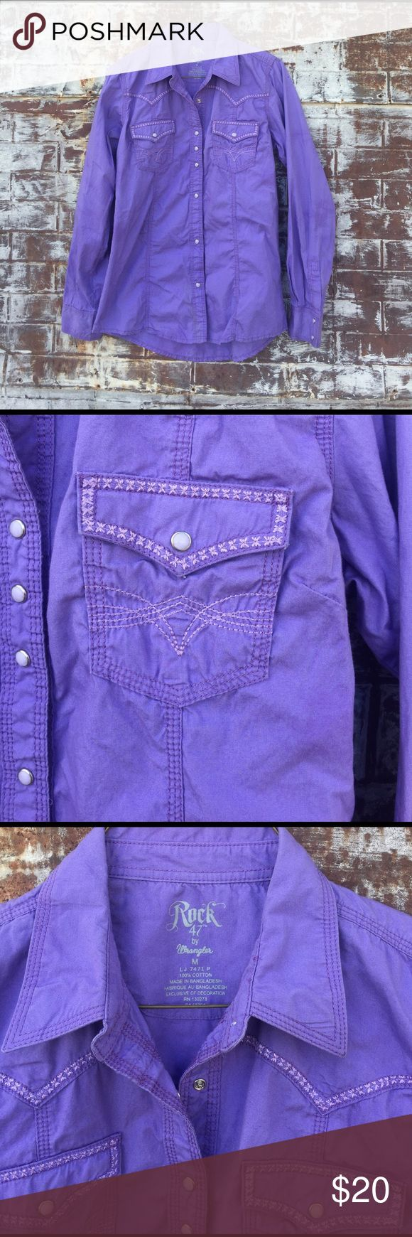 ROCK 47 PURPLE WESTERN Rodeo Cowgirl Shirt Ready for the Rodeo.✨ super cute purple Western shirt with embroidery detailing and pearl snaps. Excellent condition Wrangler Tops Button Down Shirts