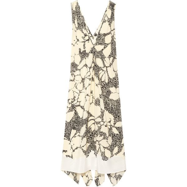 By Malene Birger Quinesa printed silk-crepe dress (17,600 INR) ❤ liked on Polyvore featuring dresses, brown dress, loose dresses, loose fitting dresses, petite dresses and slip on dress