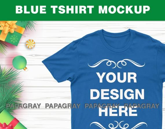 Royal Blue T Shirt Mockup Christmas Scene Digital Download