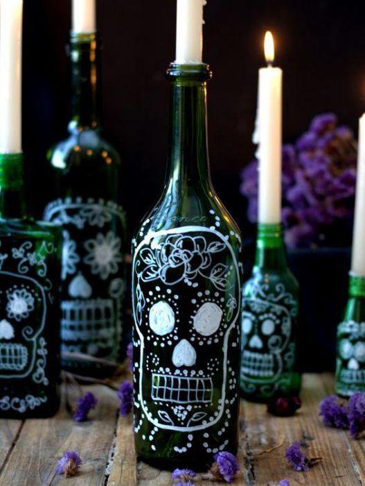 Las 25 mejores ideas sobre botellas de vino de halloween - Botellas con velas ...