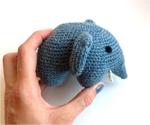 Hæklet elefant, 14 cm