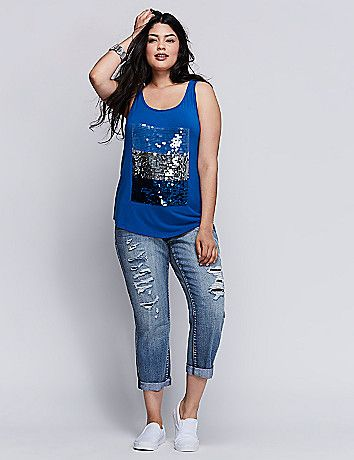 Lane Bryant Sequin Graphic Tank