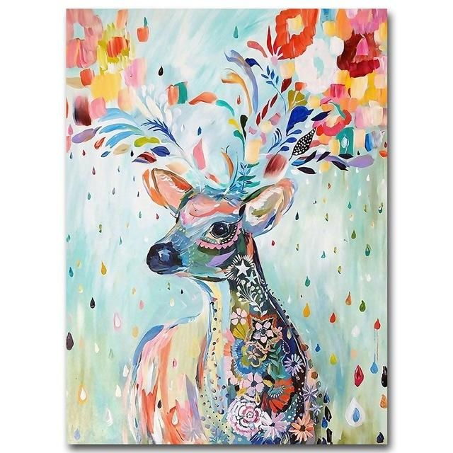 Nordic Art Watercolor Animal Deer Minimalist Poster Canvas Painting A4 Wall Picture Print Modern Home Room Decor Hand Painted