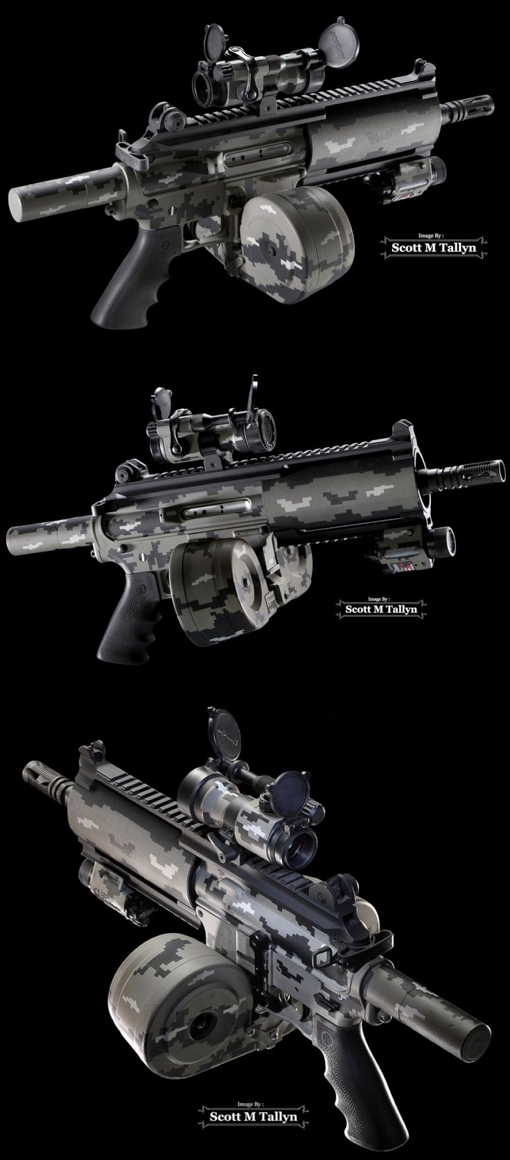 Bushmaster Carbon-15 Pistol  Type: Custom Bushmaster Carbon-15 Pistol (.223) Accessories: Custom Urban Duracoat Paint, Aimpoint 7000 Red Dot Scope w/ Spill Kill, Insight M6 Flashlight w/ Laser, 40 Round Magazine, 100 Round Drum Magazine, Tactical Charging Handle, Tactical Bolt Release Catch and Flash Suppressor.