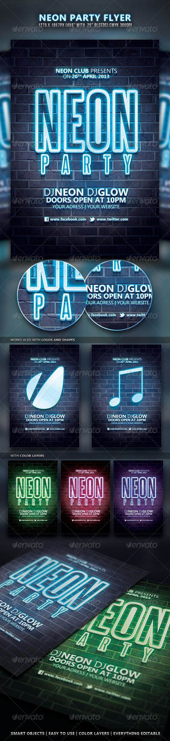 Neon Party Flyer  — PSD Template #glow sticks #flyer • Download ➝ https://graphicriver.net/item/neon-party-flyer/4355545?ref=pxcr