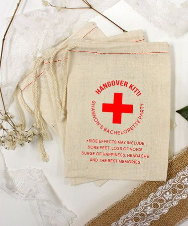 Red 'Hangover Kit' Bachelorette Personalized Favor Bag - Set of 25 #zulily #zulilyfinds