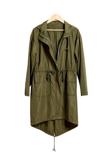 Khaki Green Trench Coat with Hood from mobile - US$31.95 -YOINS