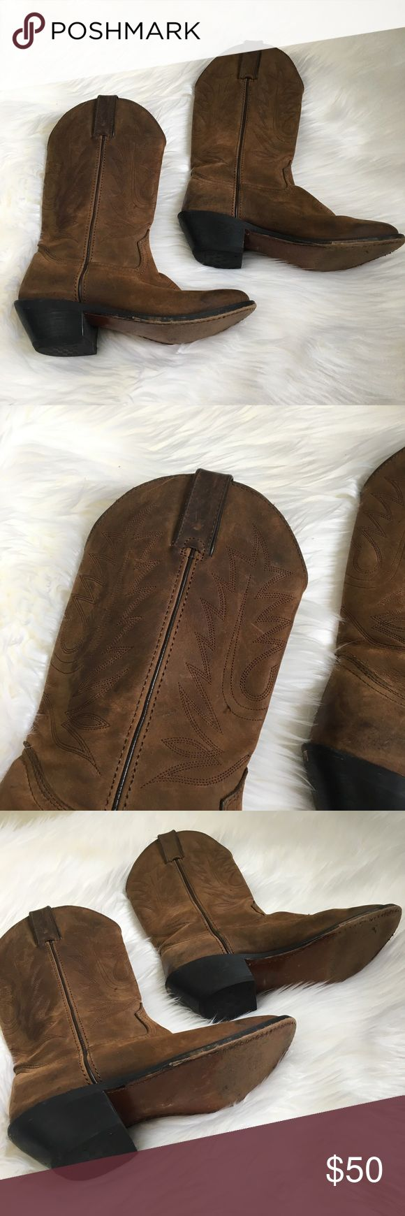 """DURANGO Women's Brown embroidered cowboy boots Pre-owned. In good condition. Shows sign of wear. Heel height: 2"""". Size 6M, EU 37. Durango Shoes Heeled Boots"""