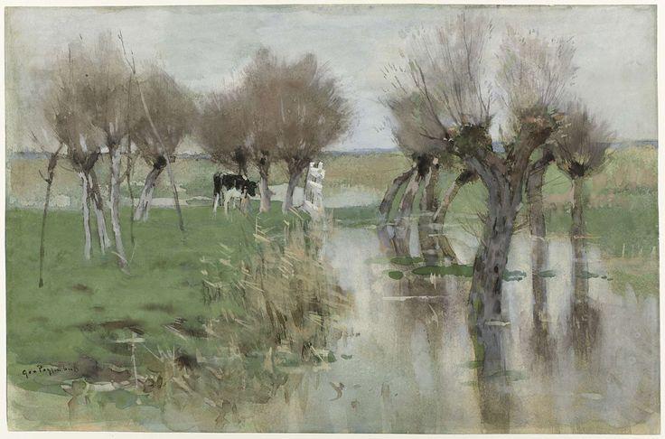 Hoog water in het weiland, Geo Poggenbeek, 1863 - 1903. #Rijksmuseum
