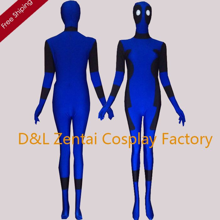>> Click to Buy << Free Shipping DHL Halloween Costumes For Men Movie Deadpool Cosplay Costume Spandex Lycra Blue Deadpool Superhero Costume DP101 #Affiliate