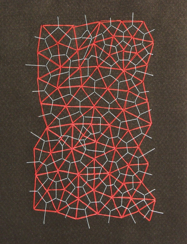 Embroidered Notebook / Voronoi and Delaunay Diagram