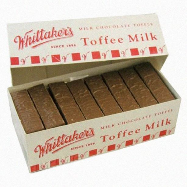 Photograph; Packaging. Whittaker's MILK CHOCOLATE TOFFEE SINCE 1896 Toffee Milk COPYRIGHT © TRADEMARKED ™