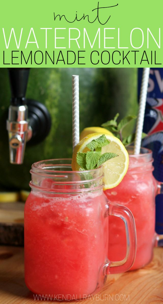 AD Msg 4 21+ |  Mint Watermelon Lemonade Cocktail made IN a watermelon! #SVEDKASummer
