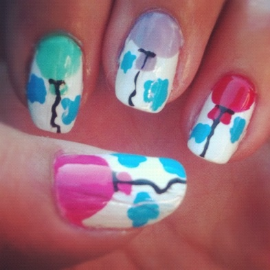 Balloon Nail Art with Clouds