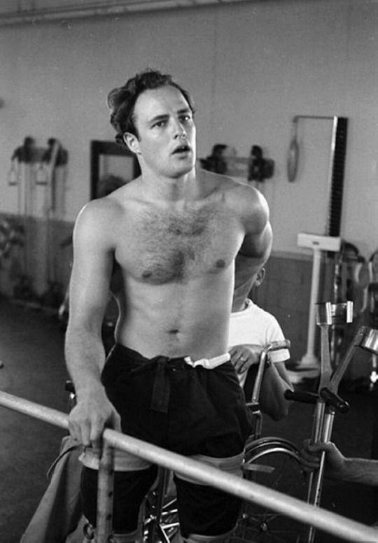 Marlon Brando in training for his first film The Men, 1949
