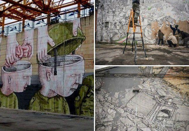 Por mais de vinte anos o grafiteiro italiano Bluespalhou sua arte pelos muros de Bolonha. Mas, na semana passada, ele e um grupo de amigos saiu pela cidade cobrindo os desenhos com tinta. A atitude é um contra-ataque direcionado à apropriação da arte urbana por um museu, que está organizando a exposição Street Art, Banksy & Co., que, como o nome diz, leva para as galerias as obras que costumavam pertencer à rua, com destaque para o mais famoso dos street artists, Banksy. A coisa é tão louca…