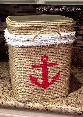 Cat Litter Bucket into Nautical Storage Tote (Tutorial) | The Kim Six Fix