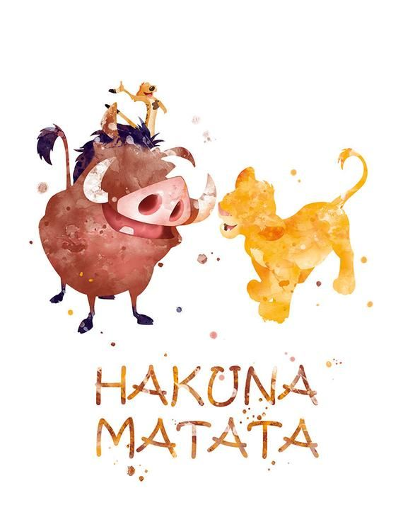 Hakuna Matata Print König der Löwen Wandkunst Pumbaa Timon Simba Der König der Löwen Kunstdruck Disney Hakuna Matata Aquarell Kinderzimmer Dekor