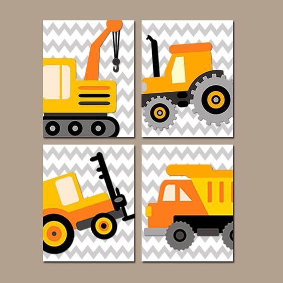 Construction Boy Wall Art Nursery Child Artwork Transportation Orange Dump Truck Forklift Tractor Chevron Set of 4 Prints Bedroom on Etsy, $38.00: