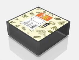 Opção para decoração gráfica de embalagem para alimentos congelados - porção unitária, integrante de um kit com refeição completa.