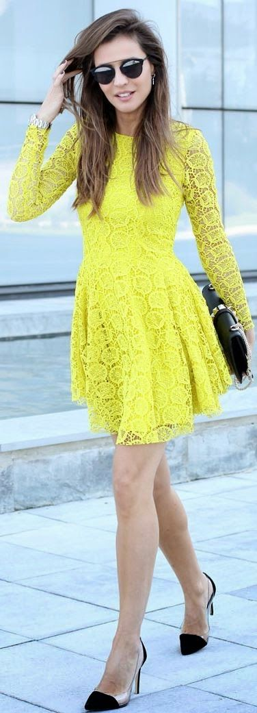 Yellow Rounded Hem Lace Dress by LadyAddict