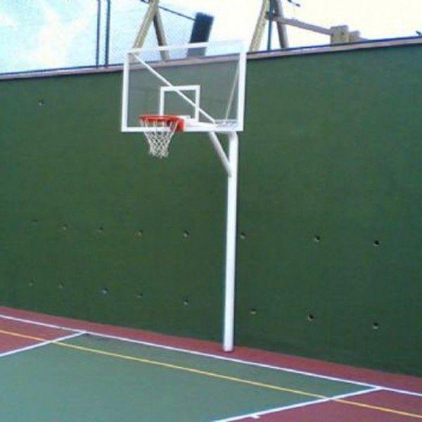 """Basketbol Potası Tek Direk Boru ES104 BASKETBOL POTASI TEK Direk BORU (4 """"114/4, 5 MM) 15 MM CAM (AK) Panya 105x180 CM 20 Sabit Çember One çıkması: 120 cm Ankrajlı 60 cm Yere gömmeli, elektro Statik Boyalı çember YÜKSEKLİĞİ 3.05 cm, 100 x 100 x 4 mm profil panya Çerçevesi 30 x 40 x 2 mm profil Dış Mekan for Tavsiye edilir."""
