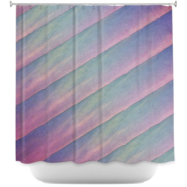 Cool Funky Shower Curtains | Sylvia Cook - Diagonal Stripes Purples | Lines Abstract Shapes Pattern