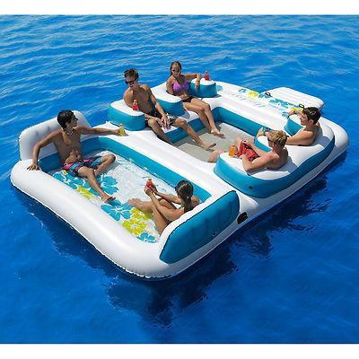Details About 6 Person Inflatable Blue Lagoon Pool Float