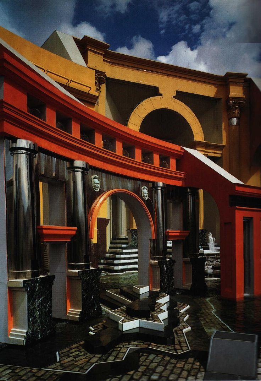 Het Postmodernisme. Charles Moore, Piazza d'Italia, 1978, New Orléans. (Gebruik van stijlcitaten) Less is bore.