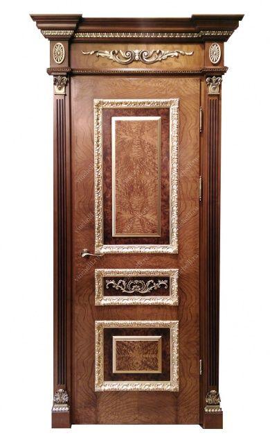 Дверь с корнем каштана, резным обкладом и поталью - Винчелли