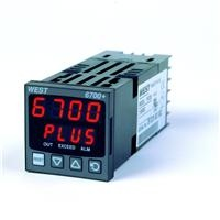 West P6700+ 1_16 DIN Limit Controller    -  4 per second input sample rate  -  Universal input  -  HMI, 4 button operation, dual 4-digit LED display  -  Plug-in output modules – install just the function needed  -  Jumperless input configuration  -  Auto-detection of installed output modules