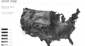 """Real-time, """"flowing"""", wind speed map of the US, updated every hour"""