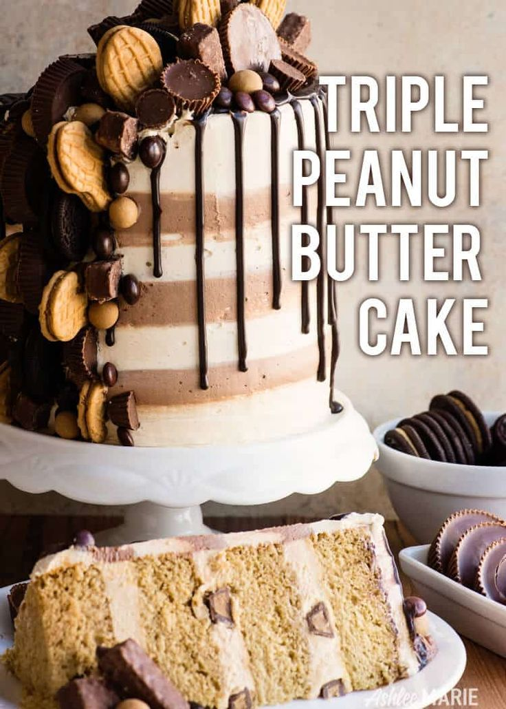 Triple Peanut Butter Cake Recipe Video Ashlee Marie Cake Peanut Butter Dessert Holi Peanut Butter Cake Chocolate Dessert Recipes Dessert Recipes Easy