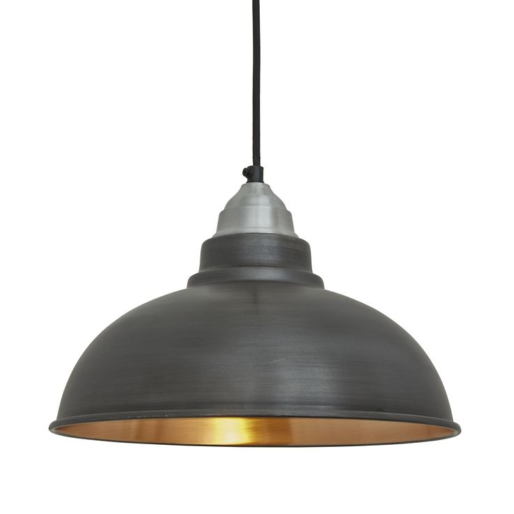 Black Industrial Light Part - 20: Old Factory Vintage Pendant Light - Dark Pewter And Copper - 12 Inch