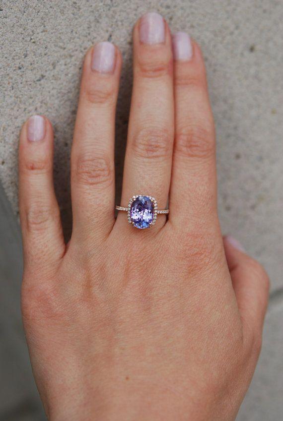 Tanzanite ring. Rose gold engagement ring. Eidelprecious ring.  This Tanzanite is natural certified cushion cut stone. The cut is mesmerizing,