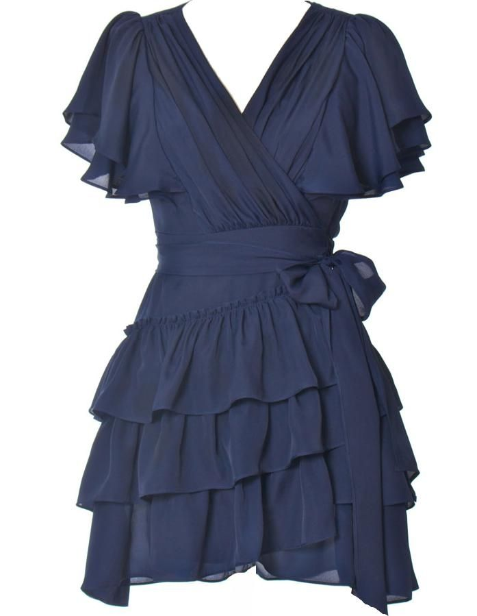 Midnight Express Dress via Rickety Rack >> Loving this midnight blue color and the ruffles are so pretty!