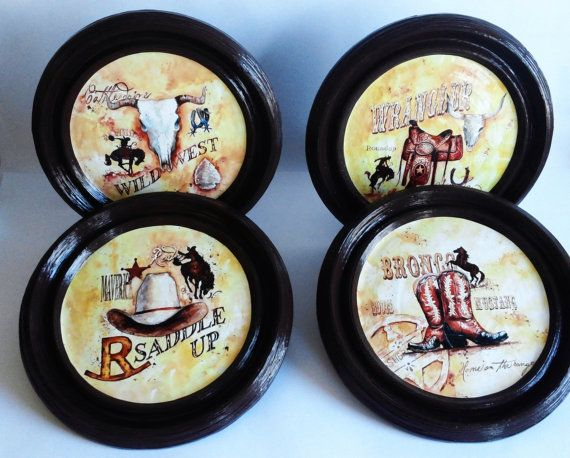Cowboys decor western plates set western decor by PaperPlateArt