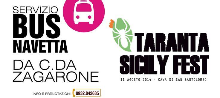 L'11 AGOSTO dalle ore 19.00 sarà attivo il SERVIZIO BUS NAVETTA da C.DA ZAGARONE per il centro storico. Per ulteriori informazioni chiamare l'info Point di Scicli, Piazza Busacca - 0932.842685 ulteriori info: http://www.tarantasicilyfest.it/come-arrivare/